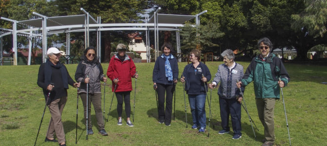 Cambridge Seniors Have a Go at Pole Walking