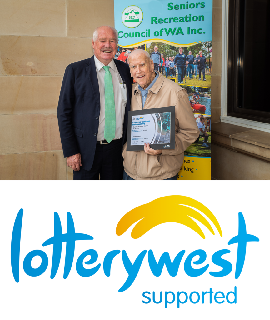 Hon. Michael (Mick) Murray MLA, Minister for Seniors and Ageing; Volunteering; Sport and Recreation presents a cheque to SRCWA State president Mr Hugh Rogers