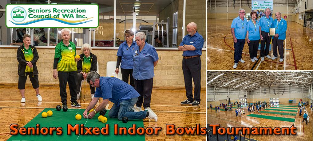 Collage of seniors playing carpet bowls