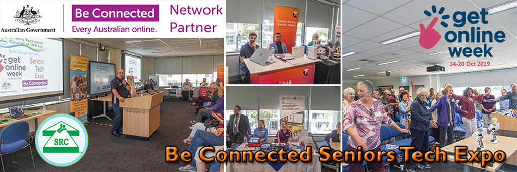 Collage of seniors tech expo, presnter, Telstra, Get Online Week, Seniors dancing with Robot Buddy.