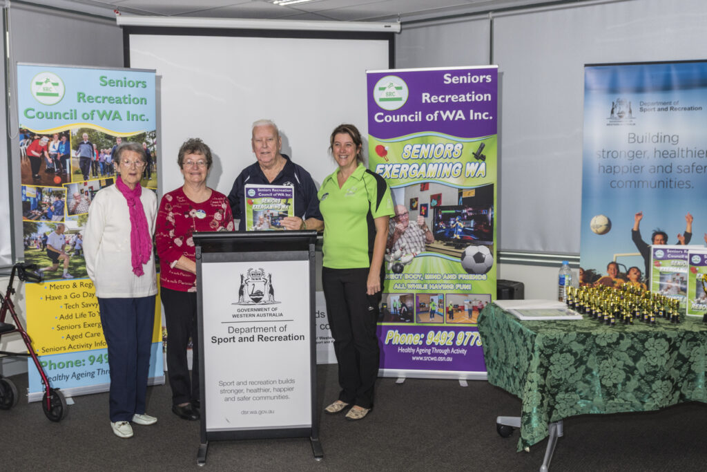 Nancy Butch, Bev Antipas, SRCWA State President Hugh Rogers and Program Manager Leanne Novatscou, at the launch of the Seniors Exergaming WA Manual 2014.