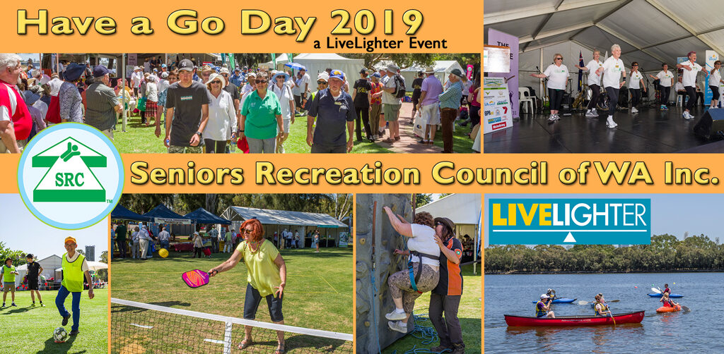 Crowd at Have a Go Day, Prime Movers Walking Soccer, PickleBall Climbing Wall and Canoeing