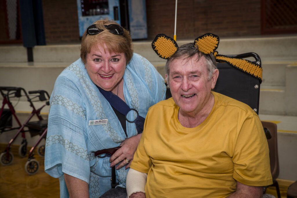 Jan Mc Glinn OAM with one of the many participants at the SRCWA LiveLighter Aged Care Games held in Peel 2019.