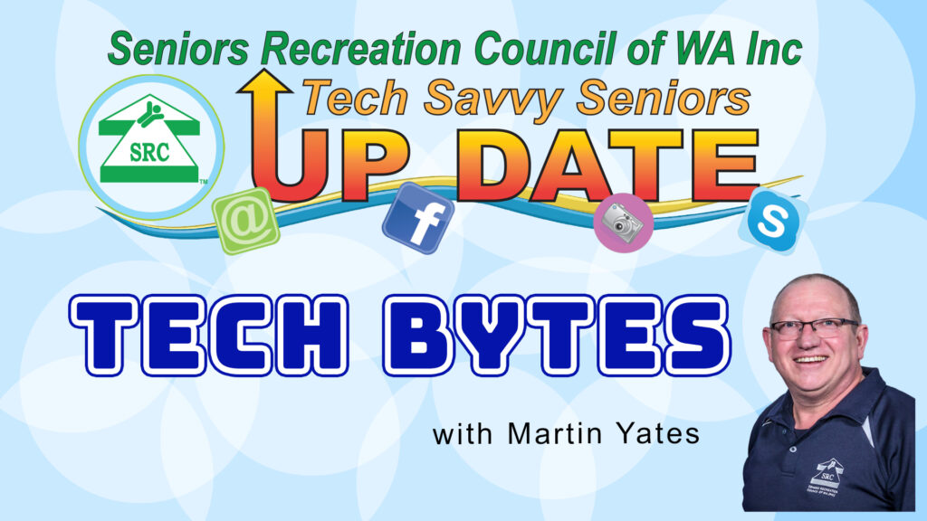 Seniors Recreation Council of WA Inc. Tech Bytes Graphic