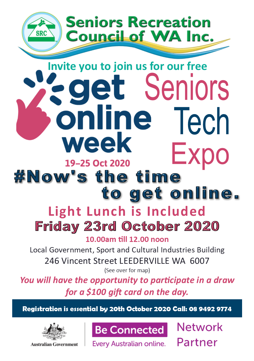 SRCWA Be Connected Seniors Tech Expo 2020.